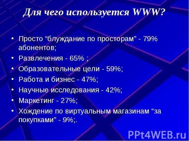 """Для чего используется WWW? Просто """"блуждание по просторам"""" - 79% абонентов;Развлечения - 65% ;Образовательные цели - 59%;Работа и бизнес - 47%;Научные исследования - 42%;Маркетинг - 27%;Хождение по виртуальным магазинам """"за покупками"""" - 9%;."""
