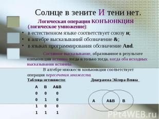 Логическая операция КОНЪЮНКЦИЯ (логическое умножение): в естественном языке соот