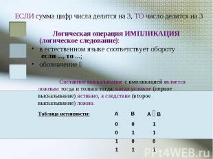 ЕСЛИ сумма цифр числа делится на 3, ТО число делится на 3 Логическая операция ИМ
