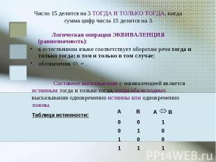 Число 15 делится на 3 ТОГДА И ТОЛЬКО ТОГДА, когда сумма цифр числа 15 делится на