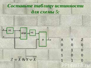 Составьте таблицу истинности для схемы 5: