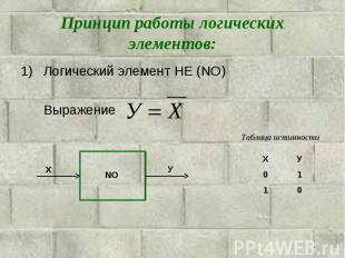 Принцип работы логических элементов: Логический элемент НЕ (NO)Выражение Таблица