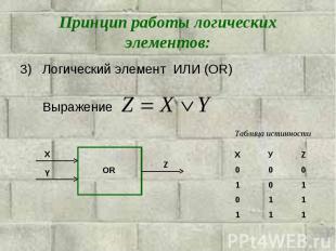 Принцип работы логических элементов: Логический элемент ИЛИ (OR)Выражение