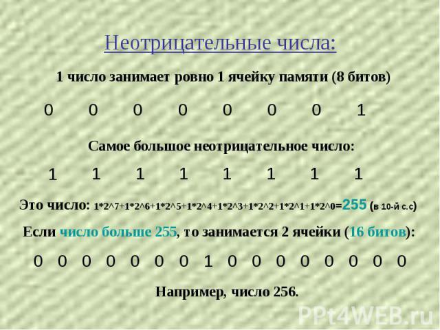 Неотрицательные числа: 1 число занимает ровно 1 ячейку памяти (8 битов) Самое большое неотрицательное число: Это число: 1*2^7+1*2^6+1*2^5+1*2^4+1*2^3+1*2^2+1*2^1+1*2^0=255 (в 10-й с.с) Если число больше 255, то занимается 2 ячейки (16 битов): Наприм…