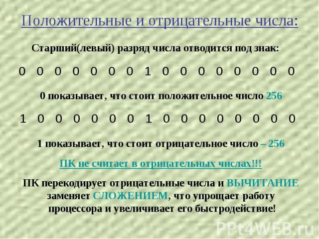 Положительные и отрицательные числа: Старший(левый) разряд числа отводится под знак: 0 показывает, что стоит положительное число 256 1 показывает, что стоит отрицательное число – 256 ПК не считает в отрицательных числах!!!ПК перекодирует отрицательн…
