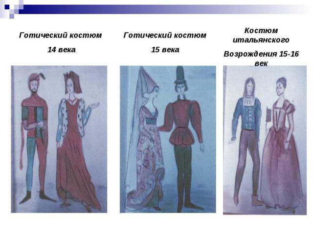 Готический костюм 14 века Готический костюм 15 века Костюм итальянскогоВозрождения 15-16 век