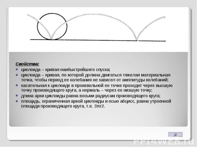 Свойства:циклоида – кривая наибыстрейшего спуска;циклоида – кривая, по которой должна двигаться тяжелая материальная точка, чтобы период ее колебания не зависел от амплитуды колебаний; касательная к циклоиде в произвольной ее точке проходит через вы…