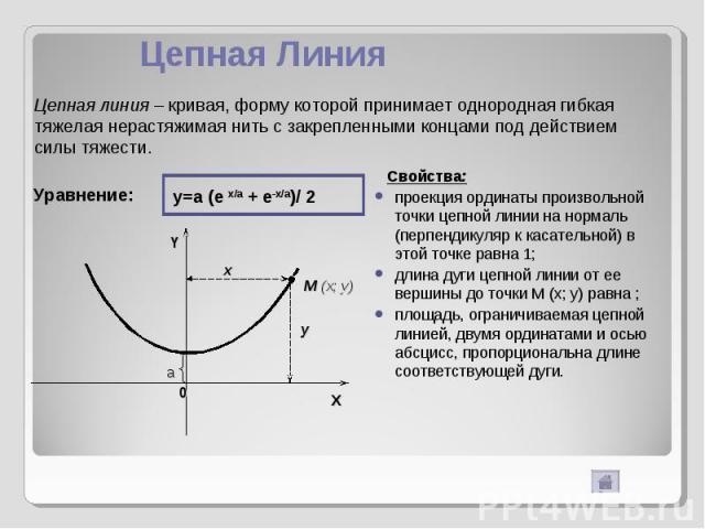 Цепная Линия Цепная линия – кривая, форму которой принимает однородная гибкая тяжелая нерастяжимая нить с закрепленными концами под действием силы тяжести. Уравнение: y=a (e x/a + e-x/a)/ 2 Свойства:проекция ординаты произвольной точки цепной линии …