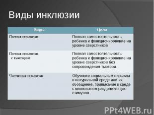 Виды инклюзии