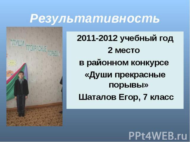 Результативность 2011-2012 учебный год2 место в районном конкурсе «Души прекрасные порывы» Шаталов Егор, 7 класс