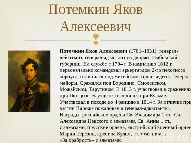 Потемкин Яков Алексеевич Потемкин Яков Алексеевич (1781–1831), генерал-лейтенант, генерал-адъютант издворян Тамбовской губернии. Наслужбе с1794г. Вкампанию 1812г. первоначально командовал арьергардом 2-го пехотного корпуса, отличился под Витеб…