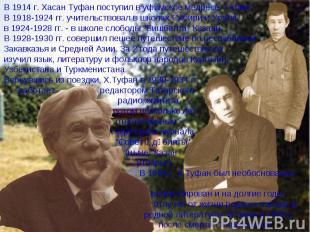 """В 1914 г. Хасан Туфан поступил в уфимское медресе """"Галия"""". В 1918-1924 гг. учите"""