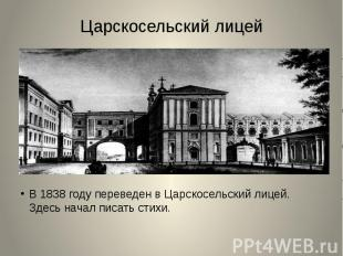 Царскосельский лицейВ 1838 году переведен в Царскосельский лицей. Здесь начал пи