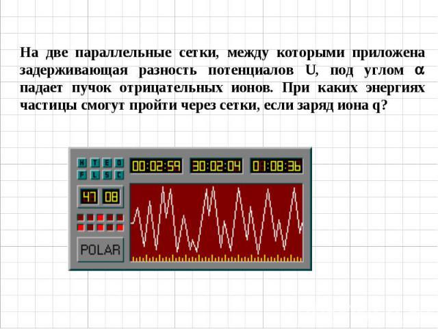 На две параллельные сетки, между которыми приложена задерживающая разность потенциалов U, под углом падает пучок отрицательных ионов. При каких энергиях частицы смогут пройти через сетки, если заряд иона q?
