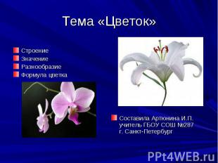 Тема «Цветок» СтроениеЗначениеРазнообразиеФормула цветка Составила Артюнина И.П.