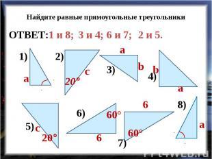 Найдите равные прямоугольные треугольники