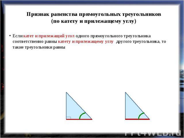 Признак равенства прямоугольных треугольников(по катету и прилежащему углу) Если катет и прилежащий угол одного прямоугольного треугольника соответственно равны катету и прилежащему углу другого треугольника, то такие треугольники равны