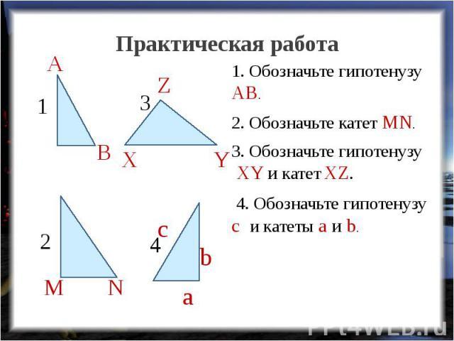 Практическая работа 1. Обозначьте гипотенузу АВ.2. Обозначьте катет MN.3. Обозначьте гипотенузу XY и катет XZ. 4. Обозначьте гипотенузу c и катеты a и b.