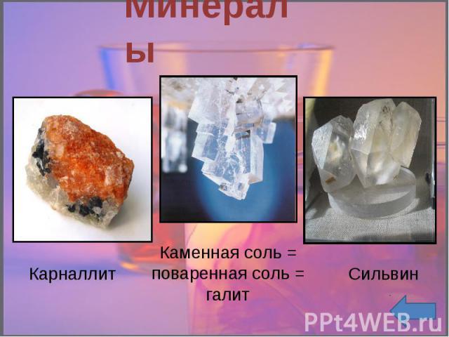 Минералы Карналлит Каменная соль = поваренная соль = галит Сильвин
