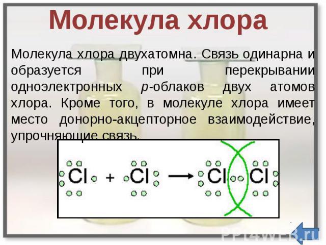 Молекула хлора Молекула хлора двухатомна. Связь одинарна и образуется при перекрывании одноэлектронных р-облаков двух атомов хлора. Кроме того, в молекуле хлора имеет место донорно-акцепторное взаимодействие, упрочняющие связь.