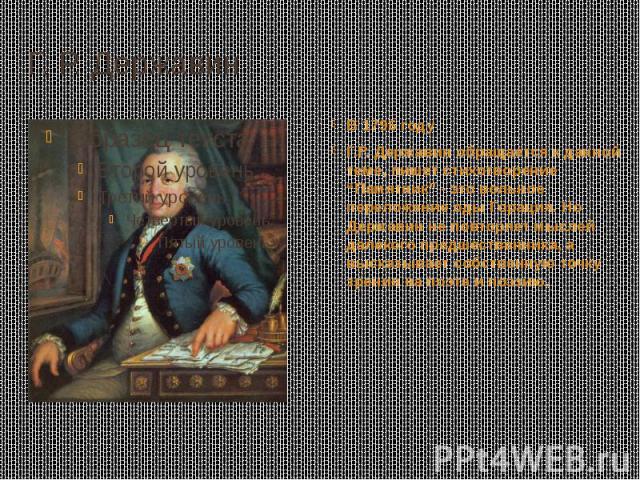 """Г. Р. Державин В 1796 году Г.Р. Державин обращается к данной теме, пишет стихотворение """"Памятник"""" - это вольное переложение оды Горация. Но Державин не повторяет мыслей далекого предшественника, а высказывает собственную точку зрения на поэта и поэзию."""