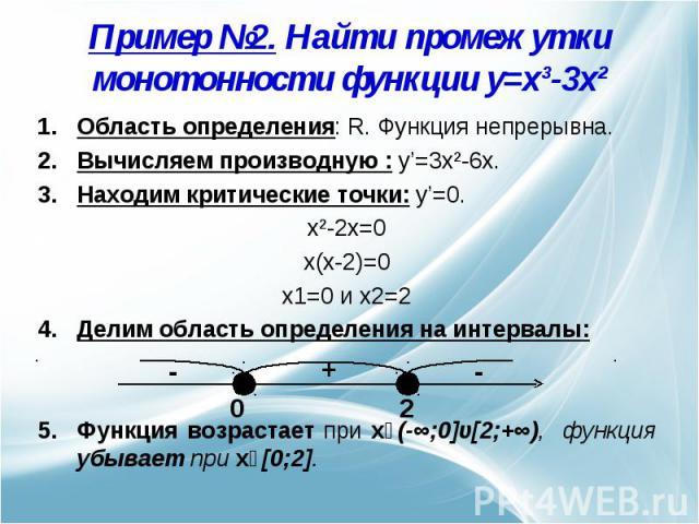 Пример №2. Найти промежутки монотонности функции y=x³-3x² Область определения: R. Функция непрерывна.Вычисляем производную : y'=3x²-6x.Находим критические точки: y'=0. x²-2x=0x(x-2)=0x1=0 и x2=2Делим область определения на интервалы: Функция возраст…