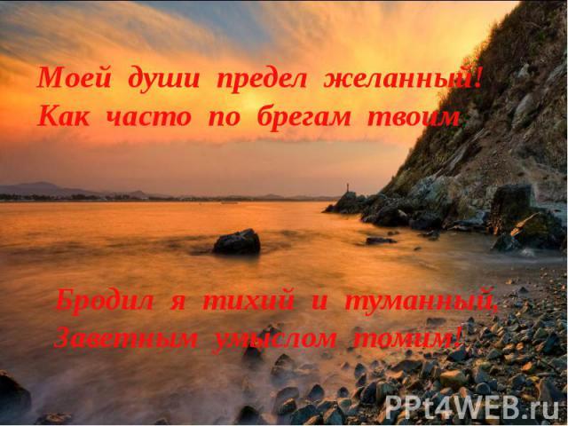 Моей души предел желанный!Как часто по брегам твоим Бродил я тихий и туманный,Заветным умыслом томим!