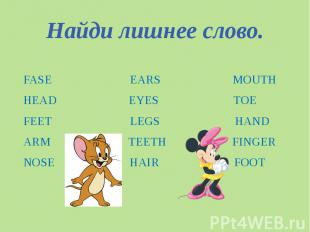 Найди лишнее слово. FASE EARS MOUTHHEAD EYES TOEFEET LEGS HANDARM TEETH FINGER N