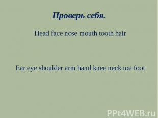 Проверь себя.Head face nose mouth tooth hairEar eye shoulder arm hand knee neck