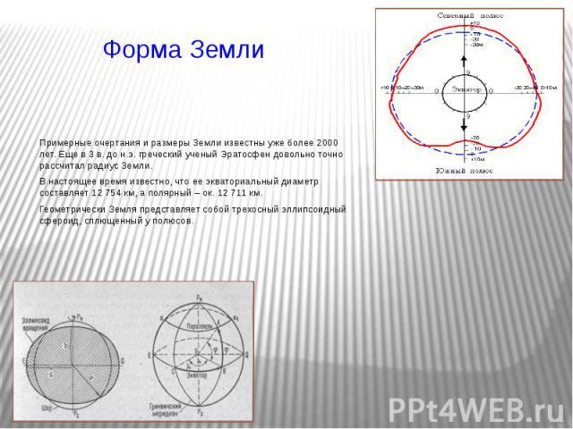 Форма Земли Примерные очертания и размеры Земли известны уже более 2000 лет. Еще в 3 в. до н.э. греческий ученый Эратосфен довольно точно рассчитал радиус Земли. В настоящее время известно, что ее экваториальный диаметр составляет 12 754 км, а поляр…