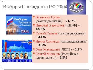 Выборы Президента РФ 2004 Владимир Путин (самовыдвижение) – 71,1%Николай Харитон