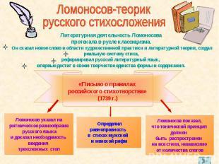 Ломоносов-теорик русского стихосложения Литературная деятельность Ломоносова про