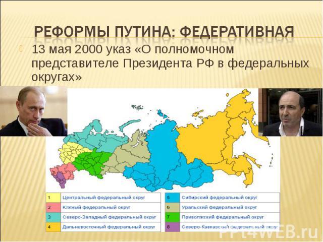 Реформы путина: федеративная 13 мая 2000 указ «О полномочном представителе Президента РФ в федеральных округах»