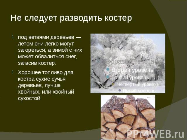 Не следует разводить костер под ветвями деревьев — летом они легко могут загореться, а зимой с них может обвалиться снег, загасив костер.Хорошее топливо для костра сухие сучья деревьев, лучше хвойных, или хвойный сухостой