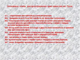 861 - образование миссийской русской митрополии;861 - крещение на юге Руси 200 с