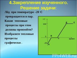 4.Закрепление изученного. Решение задачи: Лёд при температуре –20 ◦C превращаетс