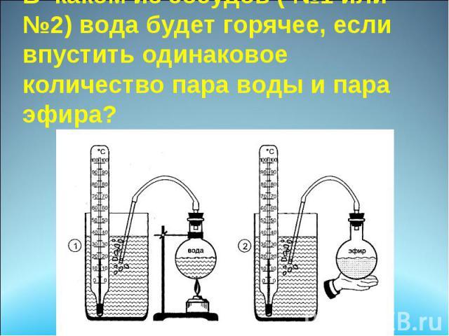 В каком из сосудов ( №1 или №2) вода будет горячее, если впустить одинаковое количество пара воды и пара эфира?