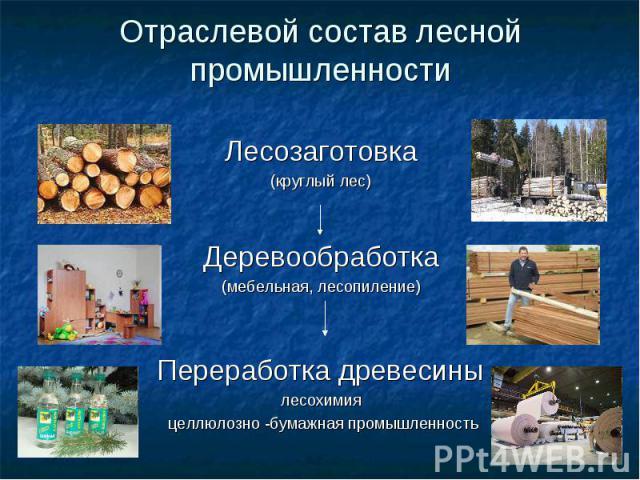 Отраслевой состав лесной промышленности Лесозаготовка(круглый лес)Деревообработка(мебельная, лесопиление)Переработка древесинылесохимия целлюлозно -бумажная промышленность