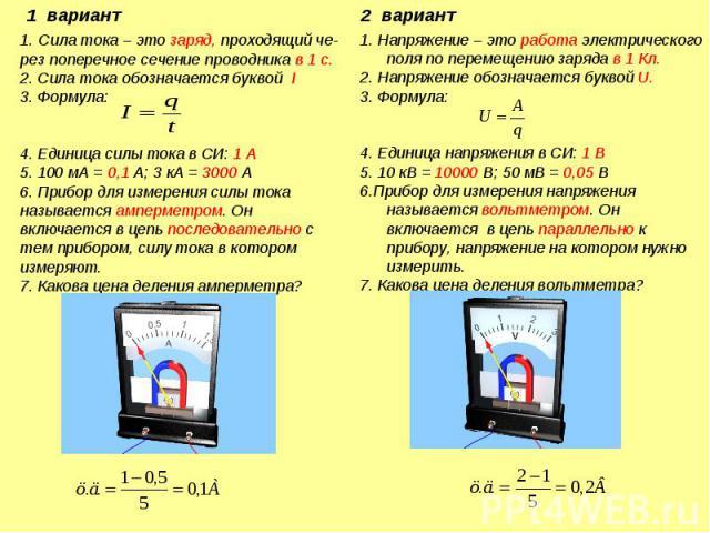 1. Сила тока – это заряд, проходящий че-рез поперечное сечение проводника в 1 с.2. Сила тока обозначается буквой I3. Формула:4. Единица силы тока в СИ: 1 А5. 100 мА = 0,1 А; 3 кА = 3000 А6. Прибор для измерения силы тока называется амперметром. Он в…