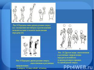 Рис.8 Передача мяча двумя руками сверху (а) ; положение кистей рук и расположени