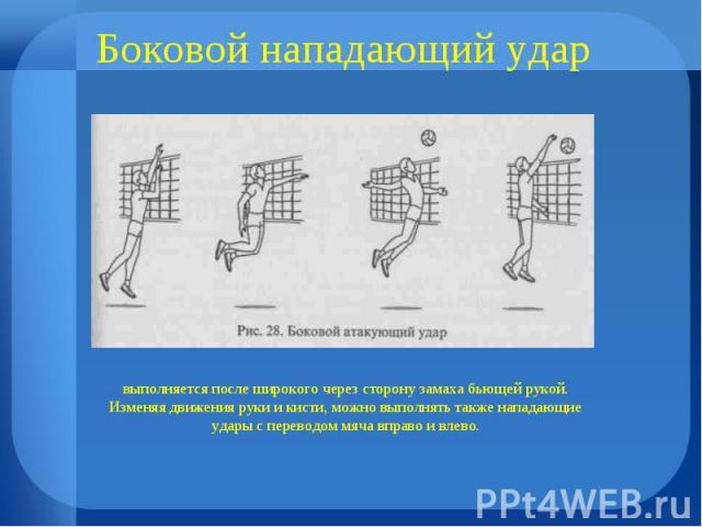 Боковой нападающий удар выполняется после широкого через сторону замаха бьющей рукой. Изменяя движения руки и кисти, можно выполнять также нападающие удары с переводом мяча вправо и влево.