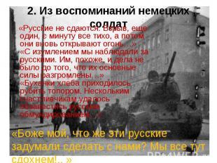 2. Из воспоминаний немецких солдат «Русские не сдаются. Взрыв, еще один, с минут