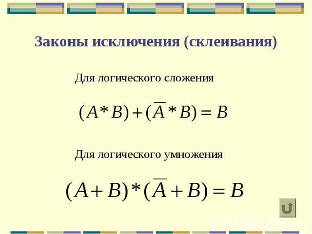 Законы исключения (склеивания) Для логического сложения Для логического умножения