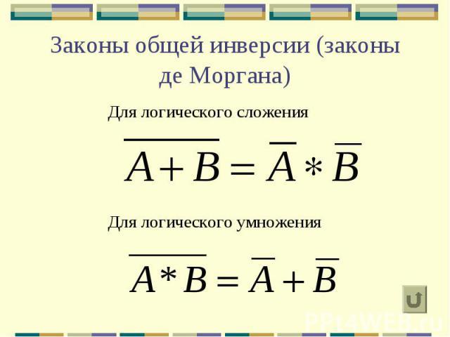 Законы общей инверсии (законы де Моргана) Для логического сложения Для логического умножения