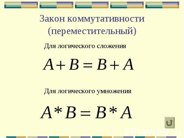 Закон коммутативности (переместительный) Для логического сложения Для логического умножения