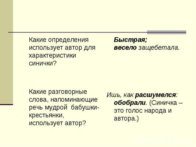 Какие определения использует автор для характеристики синички? Какие разговорные слова, напоминающие речь мудрой бабушки-крестьянки, использует автор? Быстрая; весело защебетала. Ишь, как расшумелся: обобрали. (Синичка – это голос народа и автора.)