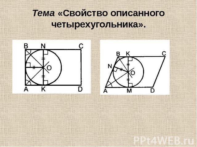 Тема «Свойство описанного четырехугольника».