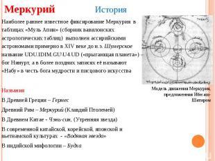 Меркурий История Модель движения Меркурия, предложенная Ибн аш-Шатиром Наиболее