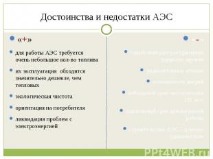 Достоинства и недостатки АЭС «+»для работы АЭС требуется очень небольшое кол-во