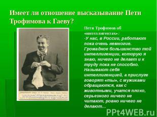 Имеет ли отношение высказывание Пети Трофимова к Гаеву? Петя Трофимов об «интелл